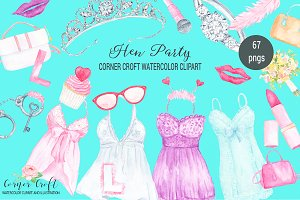 Watercolor Hen Party Clipart