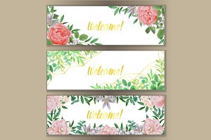Web Banner with Greenery Set
