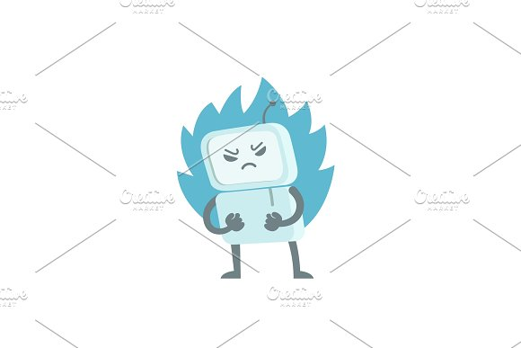 Evil Robot In Anger With Fists And Fire Character Virus Bot Troll Enraged Computer Flat Color Vector Illustration Stock