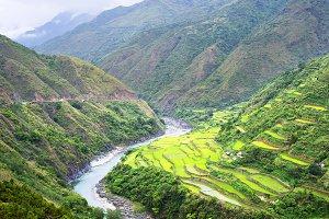 Mountain river & rice terraces
