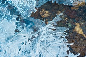 Freezing on a winter river, close up