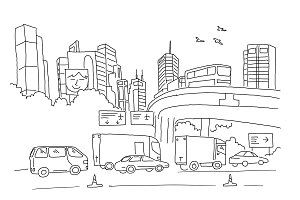 City panorama with road, transport and skyscrapers. Sketch, drawing by hand. Hand drawn black line vector illustration.