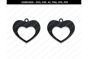 Heart earrings svg,dxf,ai,eps,png