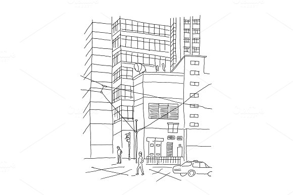 Big City Outdoors Courtyard Town Sketch Drawing By Hand Hand Drawn Black Line Vector Illustration