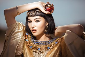 Beautiful Egyptian woman like Cleopatra outdoor