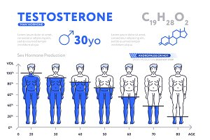 Decreasing chart of male hormone on white