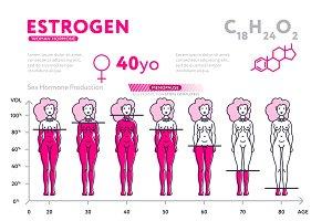 Representation of female hormone during lifetime