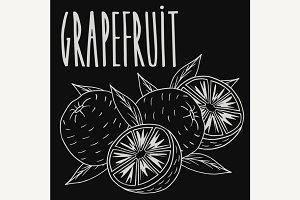 Chalkboard ripe grapefruit fruit