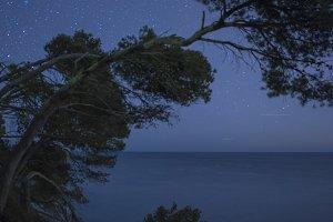 Seascape in Costa brava in the night