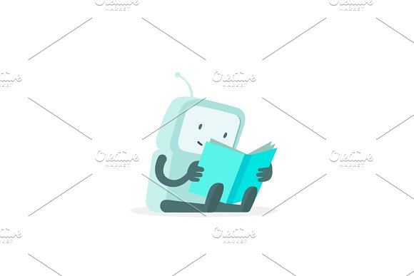 The Robot Sits Reading Book Instructions User Guide Error Page Not Found Flat Color Vector Illustration