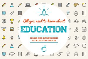 Awesome Education Icons and Logo Set