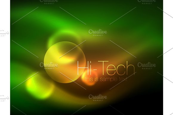 Blurred Neon Glowing Circle Hi-tech Modern Bubble Template Techno Glowing Glass Round Shapes Or Spheres Geometric Abstract Background