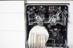 Kitchen cleaning concept, dishwash