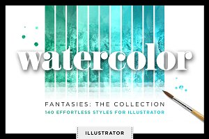 Watercolor Glitter Styles Vector Ai