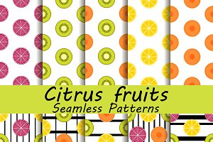 Citrus fruits seamless pattern set