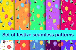 Festive seamless patterns set