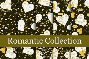 Romantic seamless pattern set