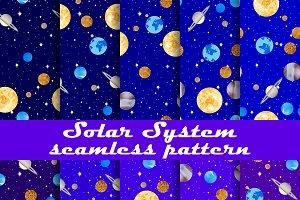 Solar system seamless pattern set