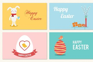 Flat Easter Greeting Cards