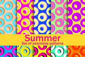 Summer seamless patterns with circle