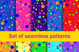 Seamless patterns colored circles