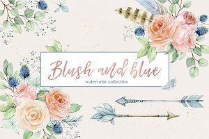 Blush and blue - watercolor clipart