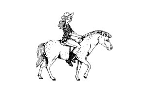 Woman ride horse engraving vector illustration