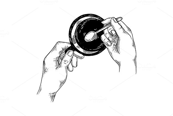 Hands With Tea Cup Engraving Vector Illustration