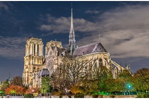 View of Notre-Dame de Paris from the banks of the Seine at night