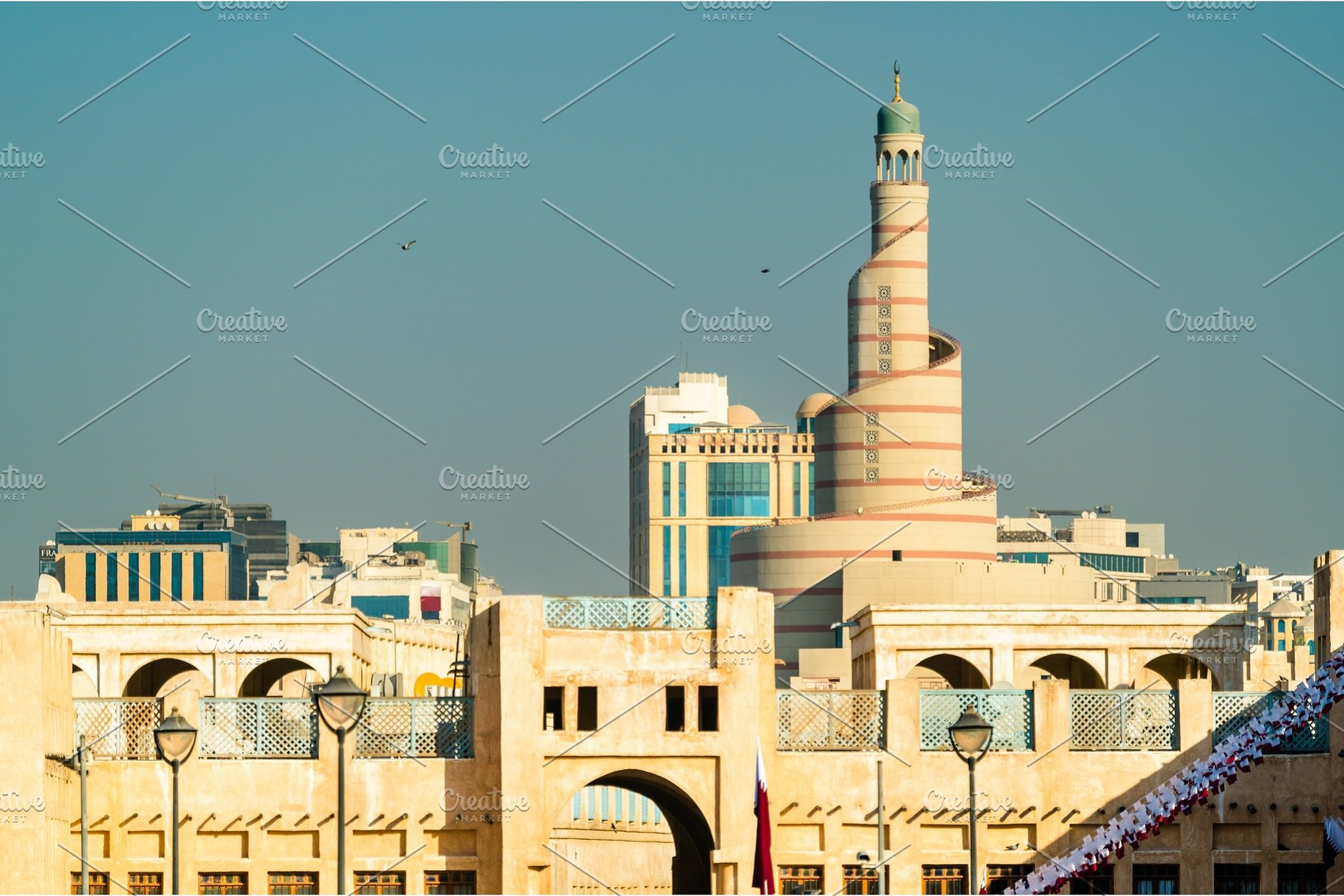 Skyline of Souq Waqif with Islamic Cultural Center in Doha, Qatar