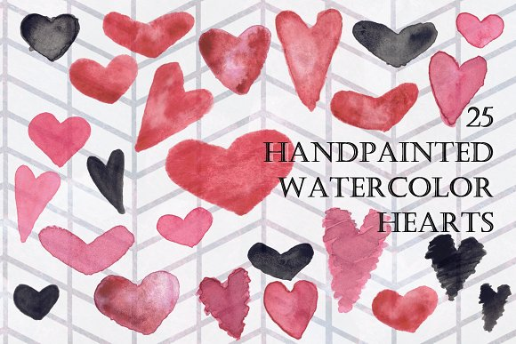 25 Hand Painted Watercolor Hearts