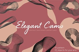 Elegant camo. Abstract pattern pack.