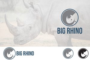 Abstract Rhinoceros in Circle Logo