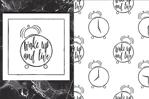 Wake up Lettering+Pattern