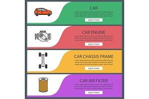 Auto workshop web banner templates set