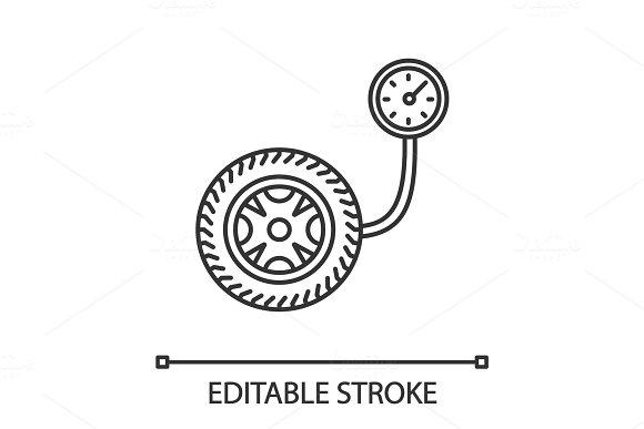 Tire Pressure Gauge Linear Icon