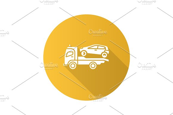 Tow Truck Flat Design Long Shadow Glyph Icon