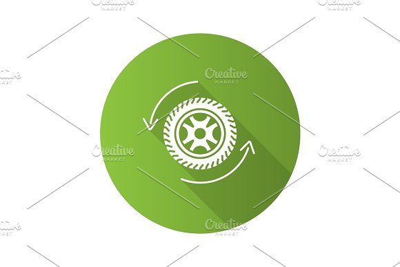 Automobile Wheel Changing Flat Design Long Shadow Glyph Icon