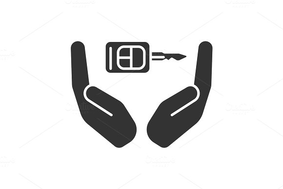 Open Palms With Car Key Glyph Icon