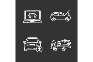 Auto workshop chalk icons set