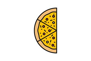 Half of pizza color icon