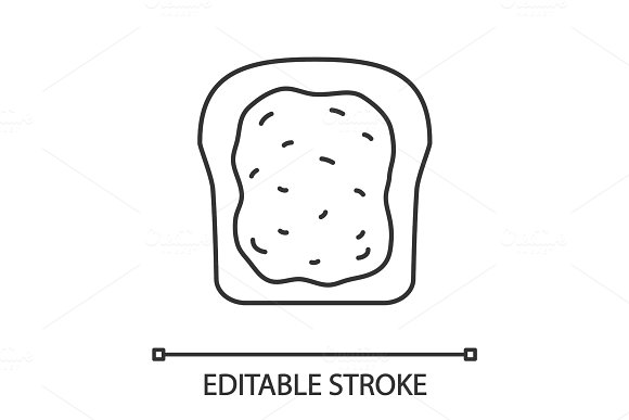 Toast With Jam Or Butter Linear Icon