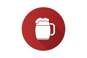 Beer mug flat design long shadow glyph icon