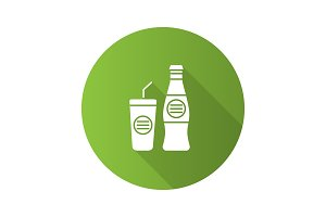 Cold drinks flat design long shadow glyph icon