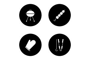 Barbecue glyph icons set