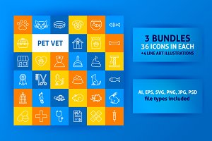 Pet Vet Line Art Icons