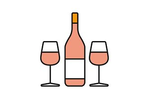 Wine and two glasses color icon