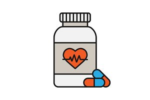Pills bottle with heart color icon