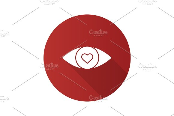 Human Eye With Heart Inside Flat Design Long Shadow Glyph Icon