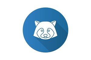 Raccoon flat design long shadow glyph icon